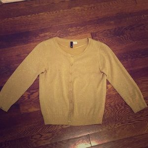 Sweaters - Cropped gold, sparkly cardigan